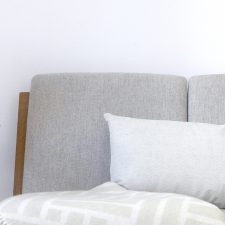 Linen/cotton cushion light green and weave throw green