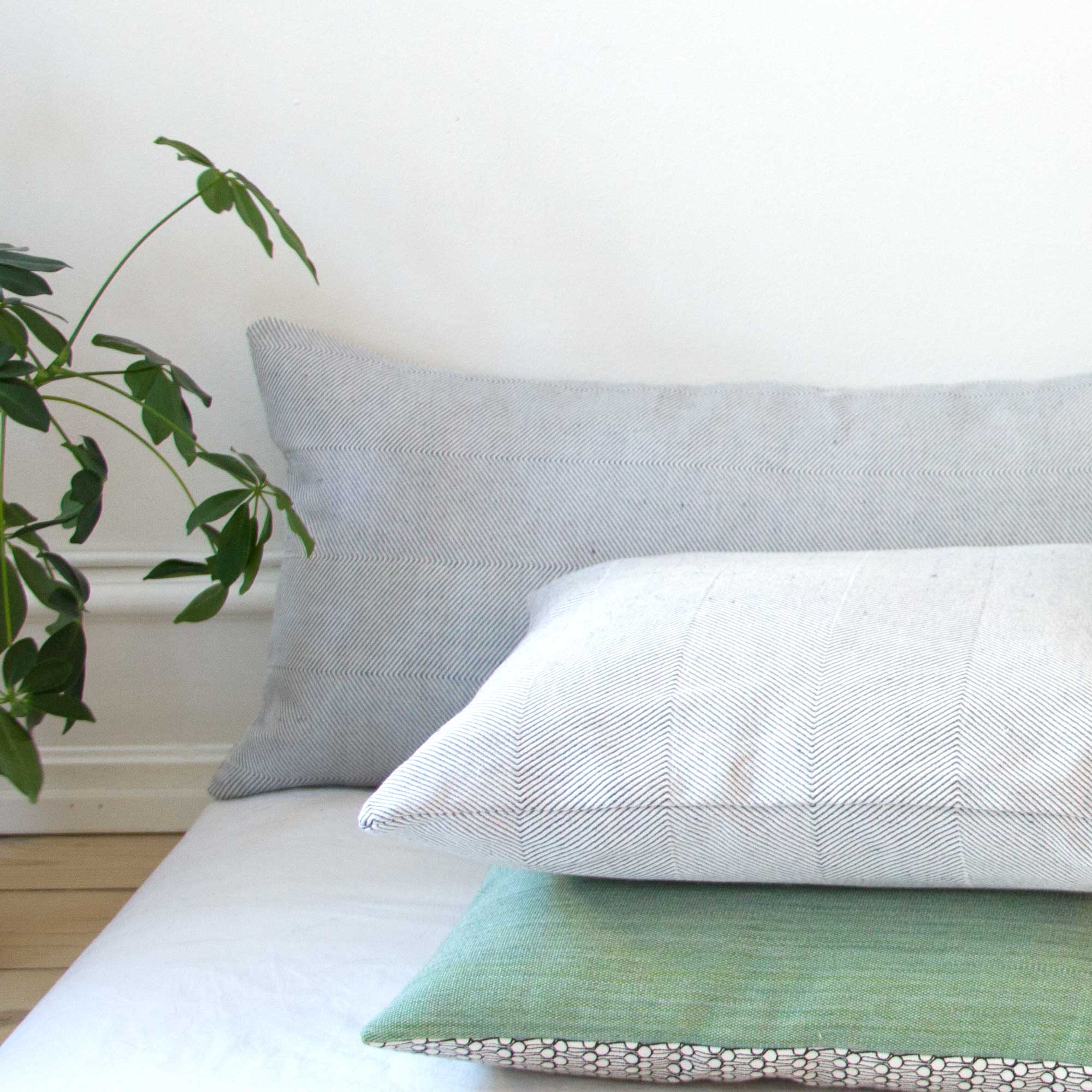linen cushions, off white