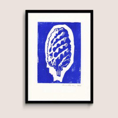 Cone, blue, A4 size linocut by Anne Rosenberg, RosenbergCph