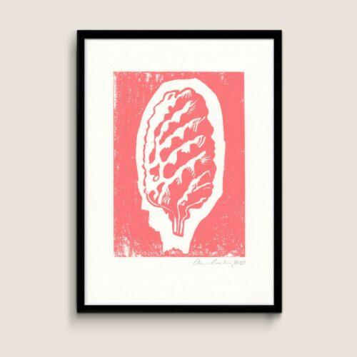 Cone, pink, A4 size linocut by Anne Rosenberg, RosenbergCph