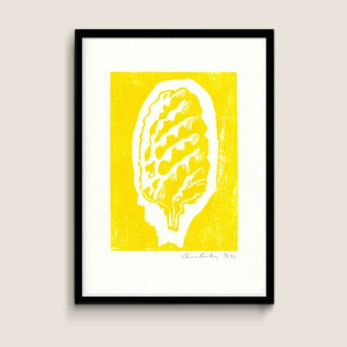 Cone, yellow, A4 size linocut by Anne Rosenberg, RosenbergCph