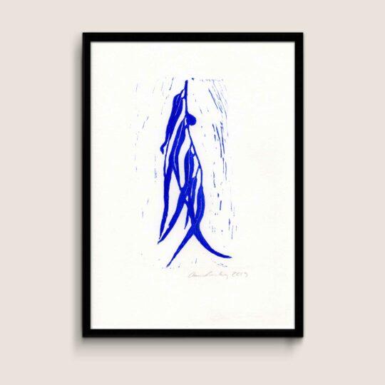 Eucalyptus, blue, A4 size linocut by Anne Rosenberg, RosenbergCph