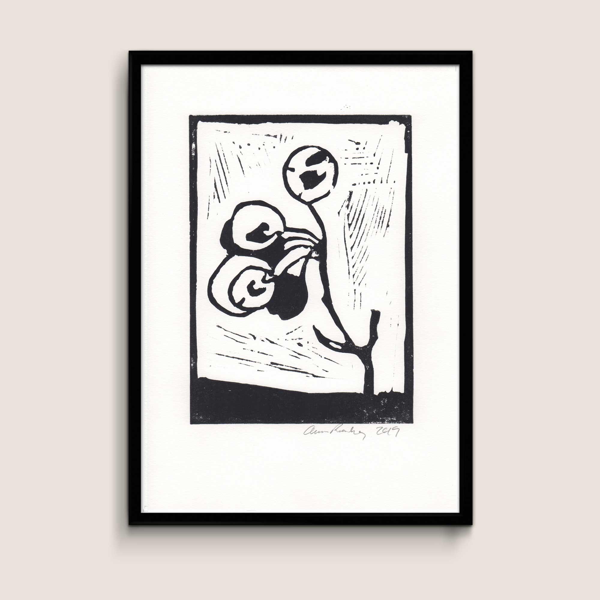 Manna, black, A4 size linocut by Anne Rosenberg, RosenbergCph
