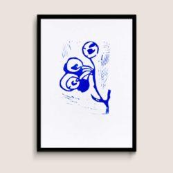Manna, blue, A4 size linocut by Anne Rosenberg, RosenbergCph