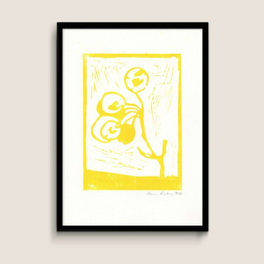 Manna, yellow, A4 size linocut by Anne Rosenberg, RosenbergCph