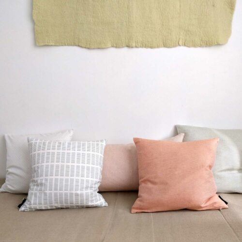 Organic cotton and linen/cotton cushion