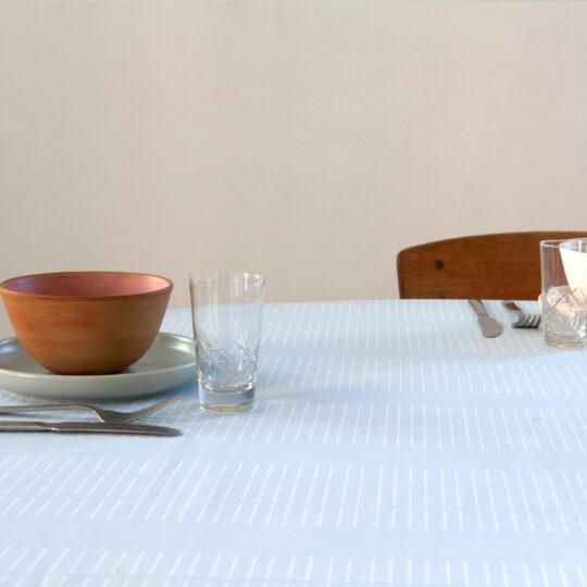 Oil cloth, Dash Sky Blue, organic cotton, design by Anne Rosenberg, RosenbergCph