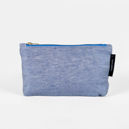 Shift purse, linen/cotton, blue
