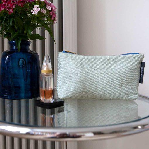 Shift purse, green linen/cotton