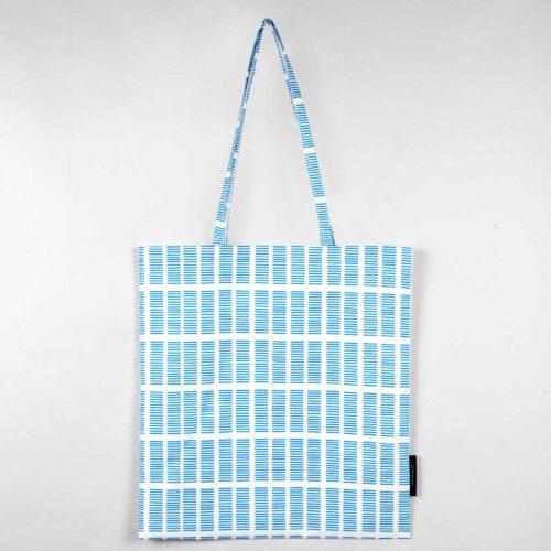Shopping bag, Tile blue, organic cotton