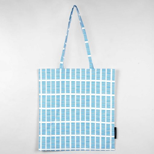 Shopping bag, Tile blue, organic cotton