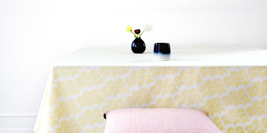 Table and oil cloth in Obi yellow