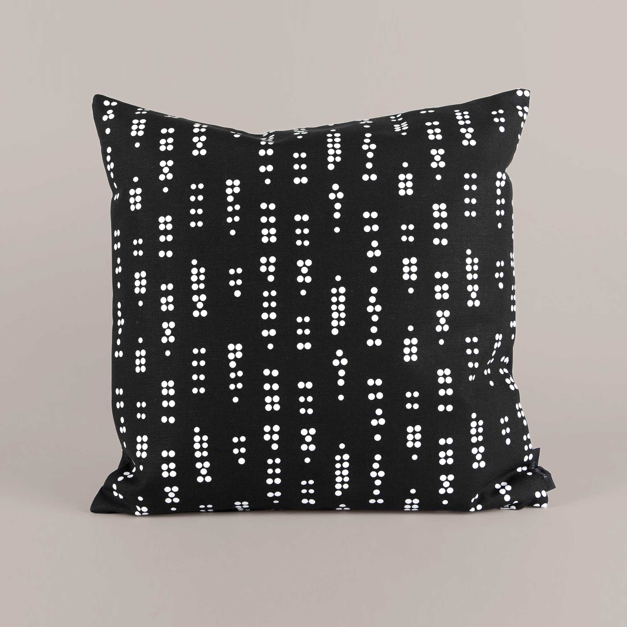 Square canvas cushion, Dot black, Design by Anne Rosenberg, RosenbergCph