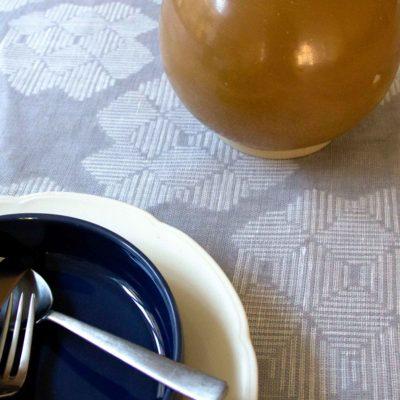 Table cloth, Desert Roses, Grey 100% linen