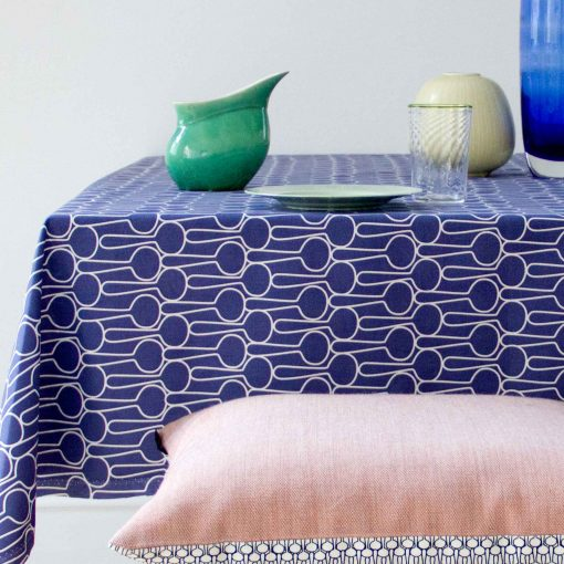 Table cloth, Big drop blue, organic cotton