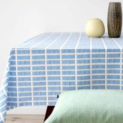 Table cloth, tile blue