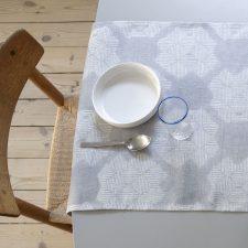 Table Runner, Desert Roses, Grey, 100% Linen