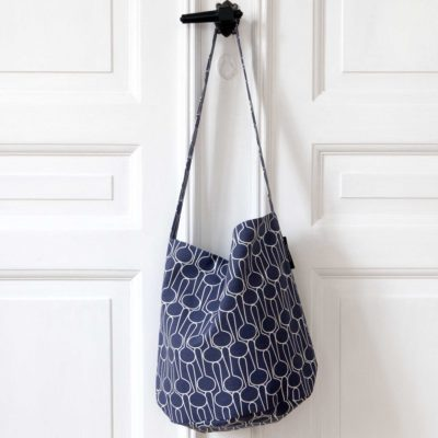Tate bucket bag, Big drop blue black, design Anne Rosenberg, RosenbergCph
