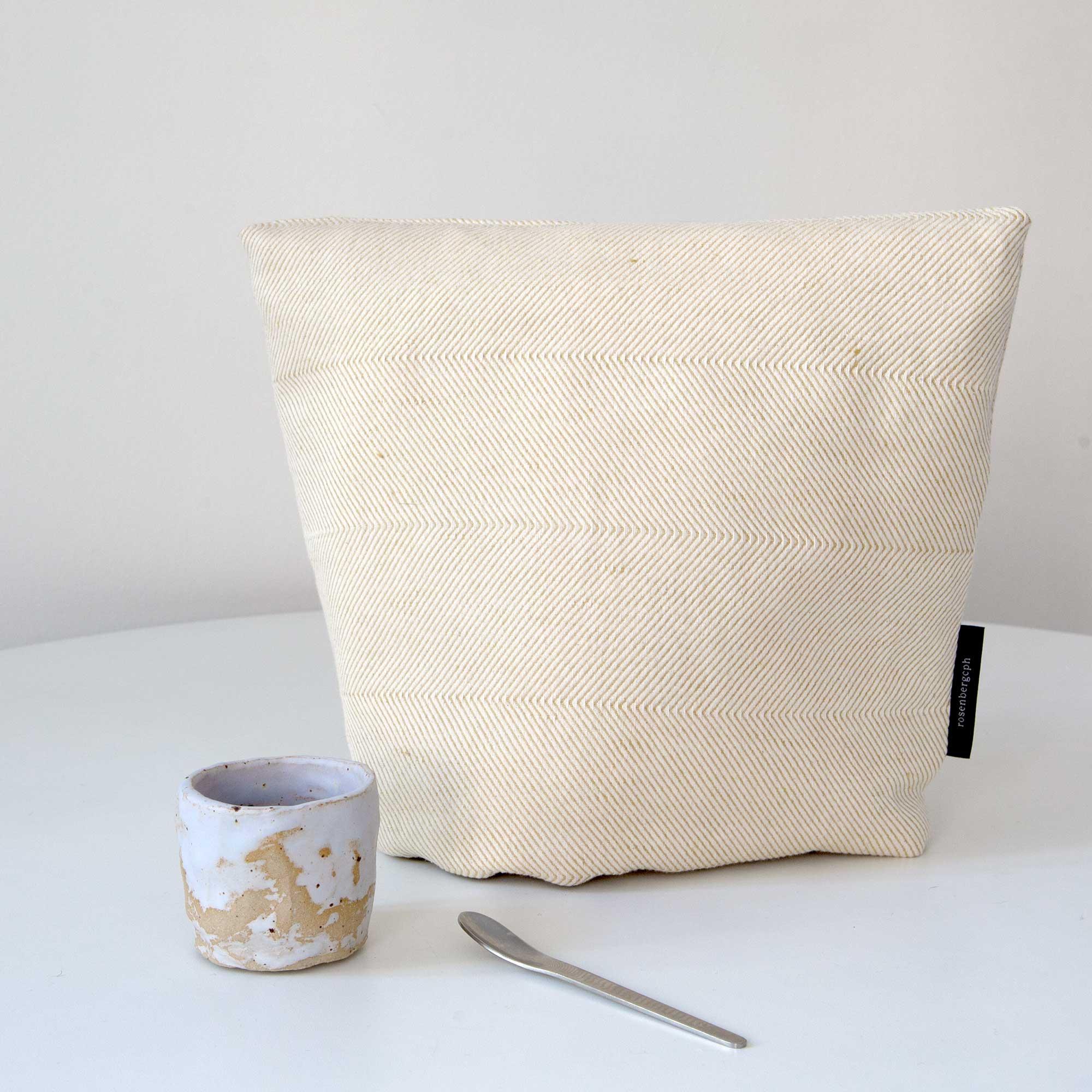 tea cosy, light hay yellow, linen/cotton, design by Anne Rosenberg, RosenbergCph