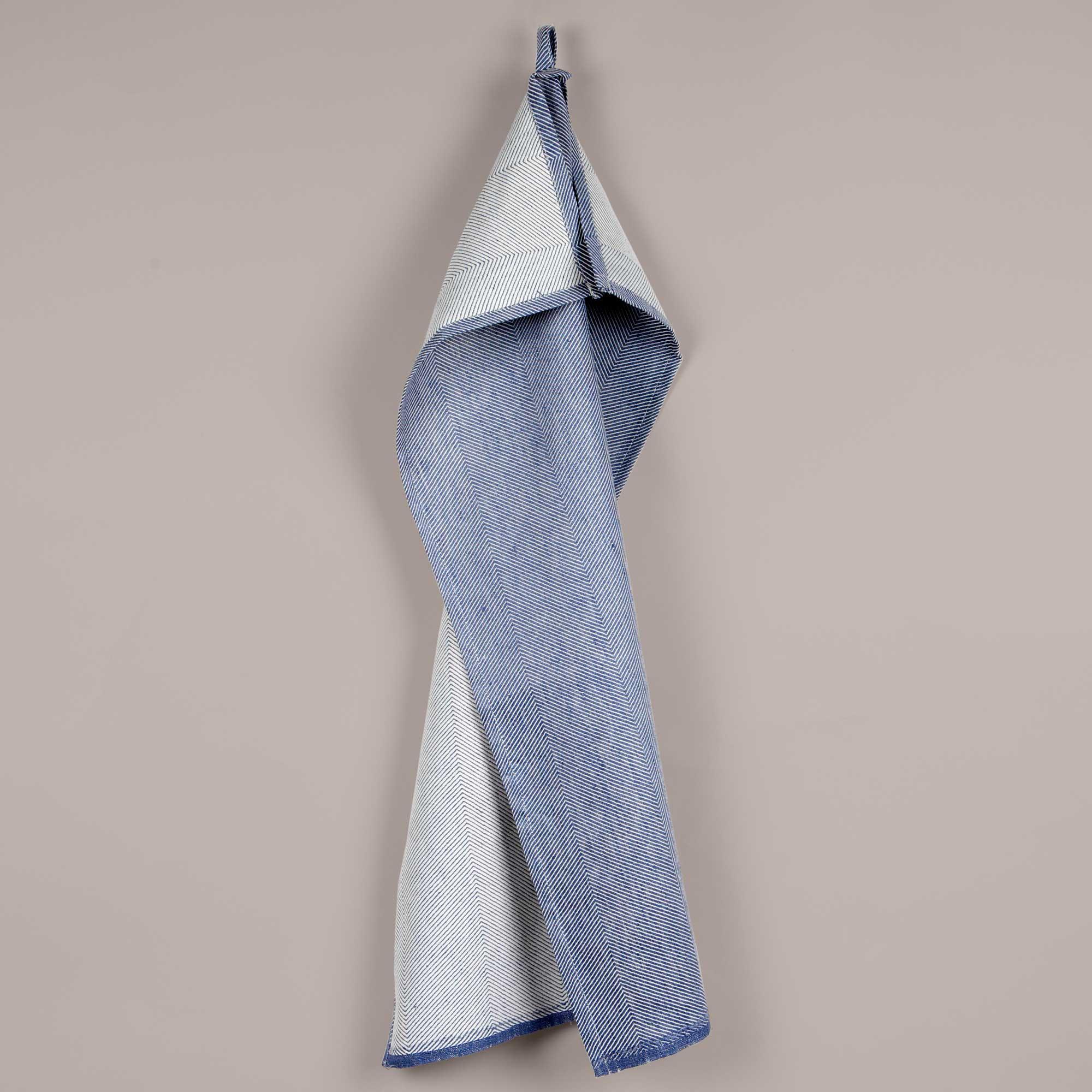 Tea towel, linen/cotton, indigo blue