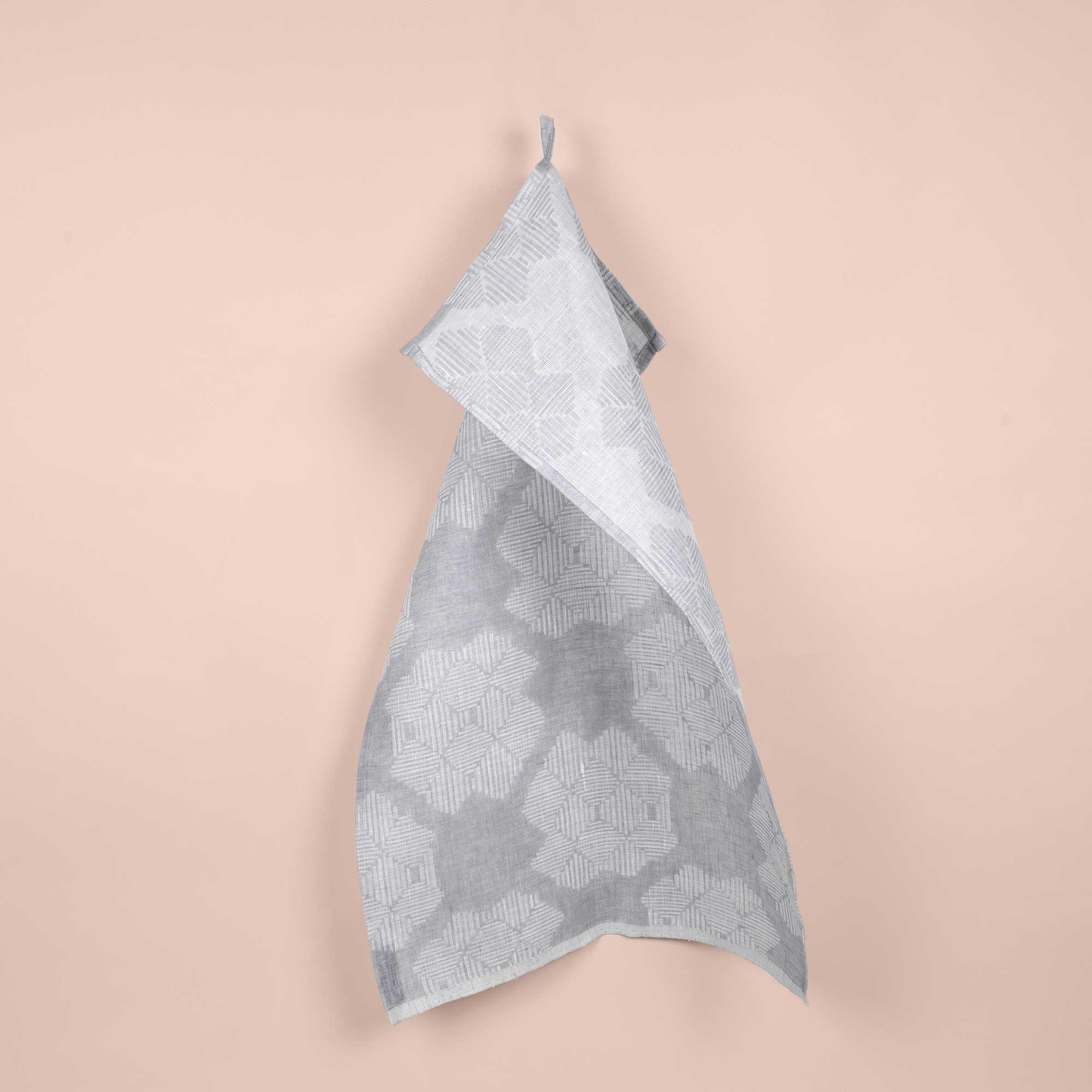 Tea towel, Desert Roses Grey, 100% linen