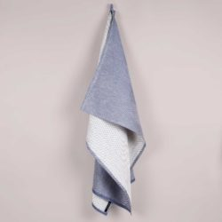 Towel, linen/cotton, indigo blue