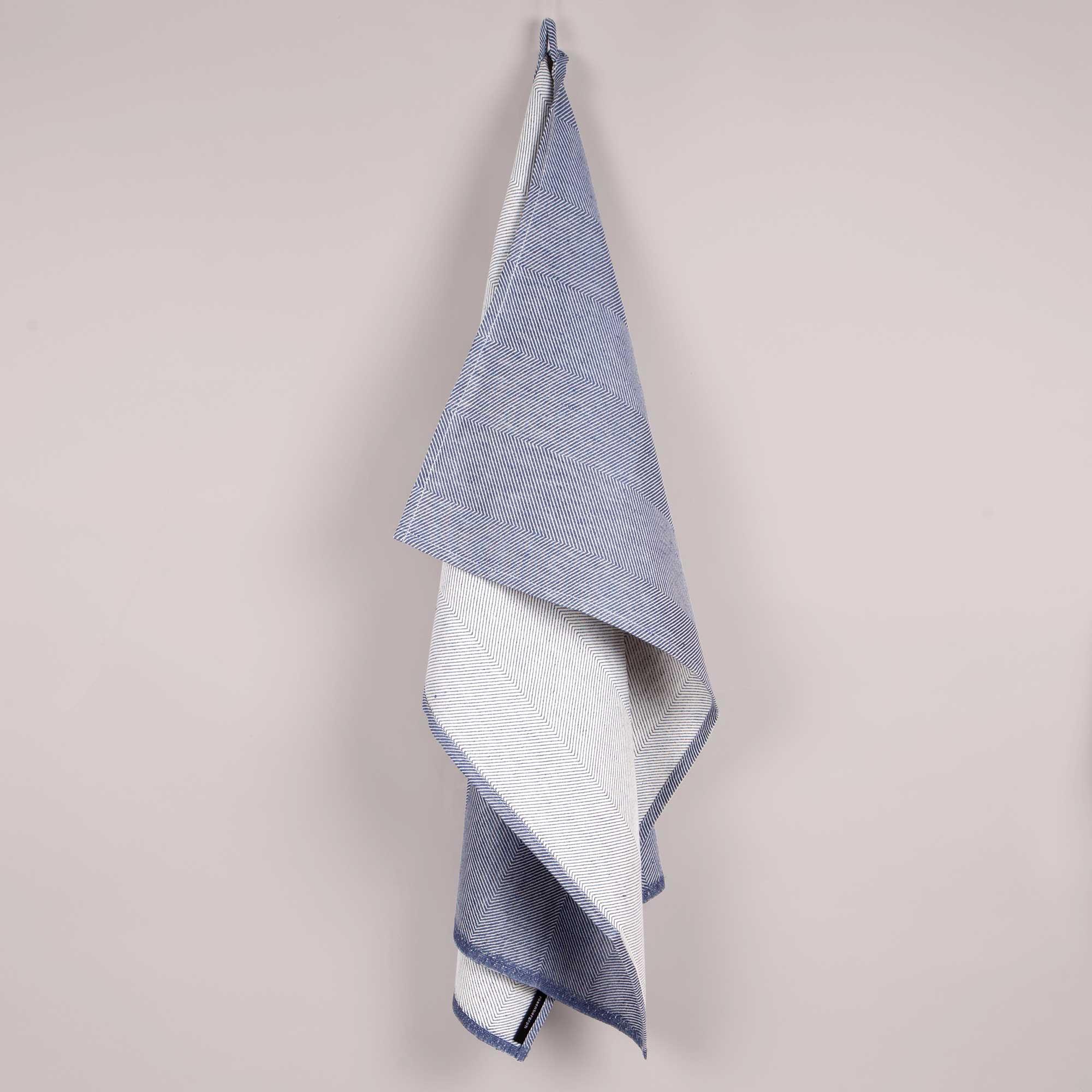 Towel, linen/cotton, indigo blue
