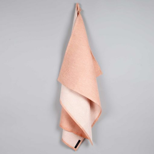 Towel, linen/cotton, dusty coral