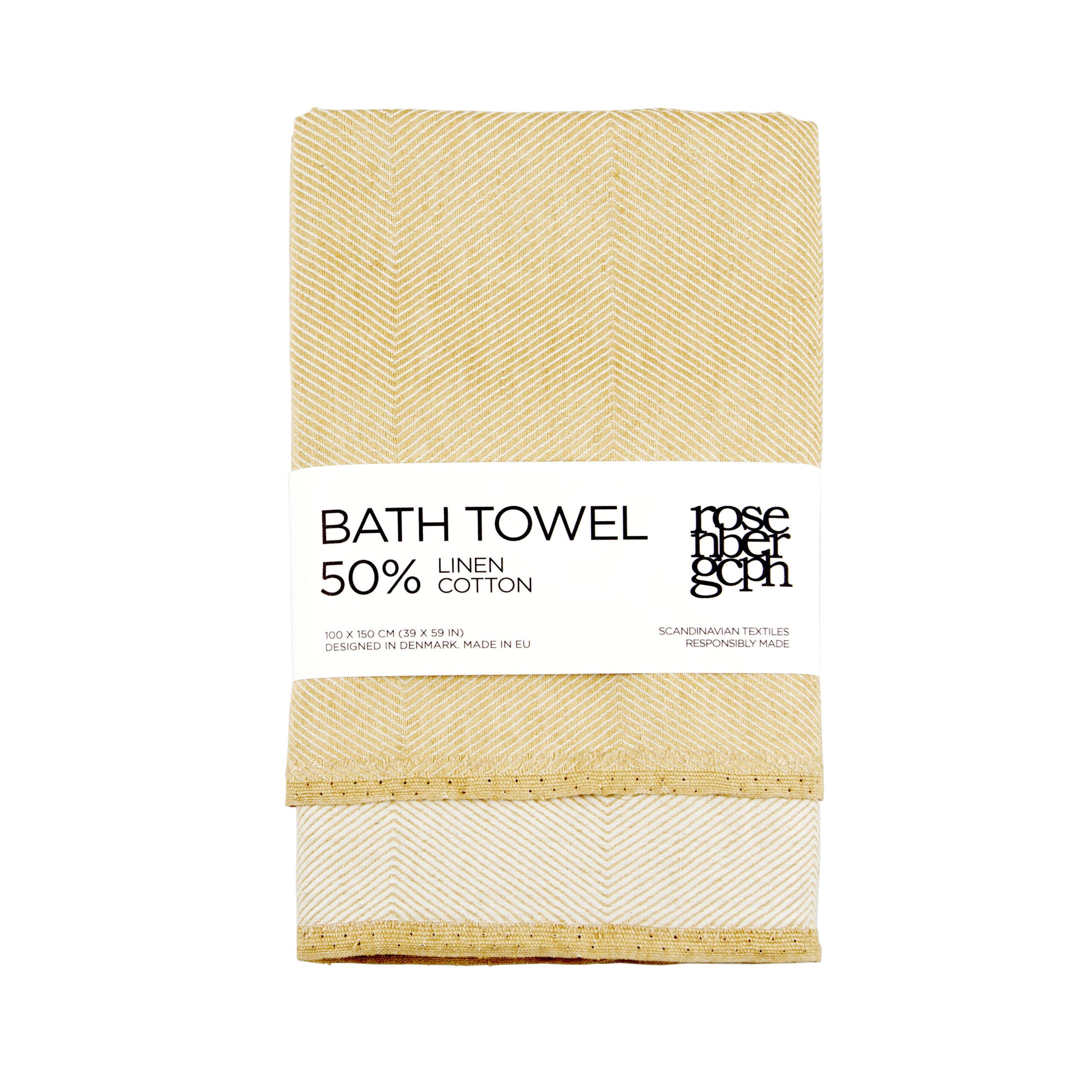 Bath towel, hay yellow, linen/cotton, design by Anne Rosenberg, RosenbergCph