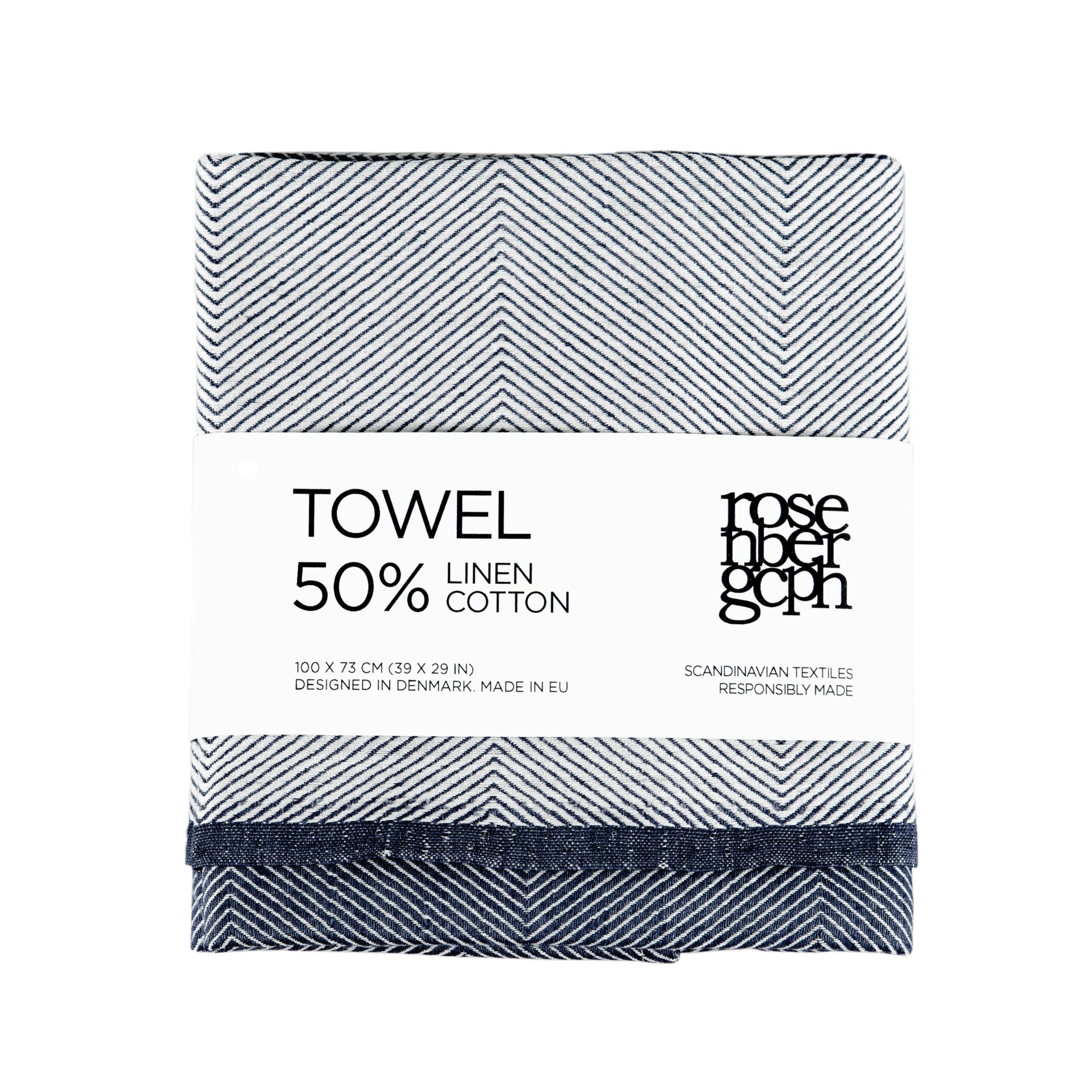 Towel, Indigo, linen/cotton, design by Anne Rosenberg, RosenbergCph
