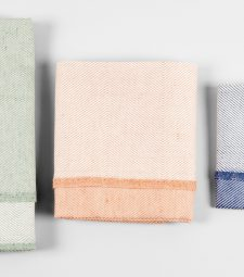 Towels, green, coral, blue